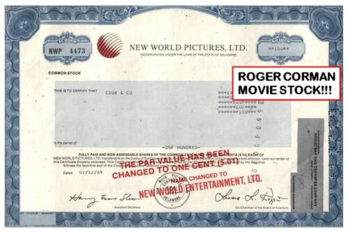 ROGER CORMAN NEW WORLD PICTURES STOCK! OWNED MARVEL COMICS! NOW FOX! ONLY HERE!!