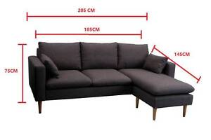 Brand New Dark Grey Fabric L Style Sofa Couches Clayton South Kingston Area Preview