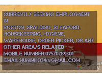 I'AM LOOKING FOR WORK IN BOSTON/SPALDING?ANY WORK AROUND?