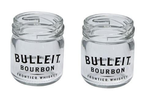NEW Bulleit Bourbon Mini Mason Jar Shot Glass Set of 2