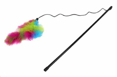 CAT A LACK CRAZY WAND TEASER FEATHER BOA CAT TOY COLORS VARY. FREE SHIP TO (Feather Boa Cat Toy)