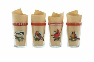 Christmas Drinking Glasses (Christmas Birds Drinking Juice Glasses Set of 4 Vintage-Style Red)