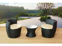 3PC BLACK RATTAN GARDEN FURNITURE VASE SET PATIO CHAIRS COFFEE TABLE OUTDOOR