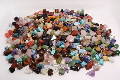 FREE Wholesale 48ps mixed Natural Gemstone Silver P Beads Pendant Jewelry