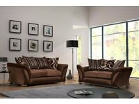 BRAND NEW SHANNON DARK BROWN LEATHER & FABRIC SOFA SUITE 3+2 SEATER