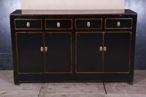 meuble chinois buffet bahut noir ancien en orme massif. Black Bedroom Furniture Sets. Home Design Ideas