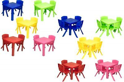 e2e Kids Children Plastic Folding Table & Stackable Chair Set