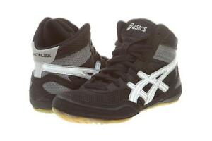 ASICS-Boys-Gel-Matflex-3-GS-Wrestling-Shoes-C129N-Black-White-Size-4-5