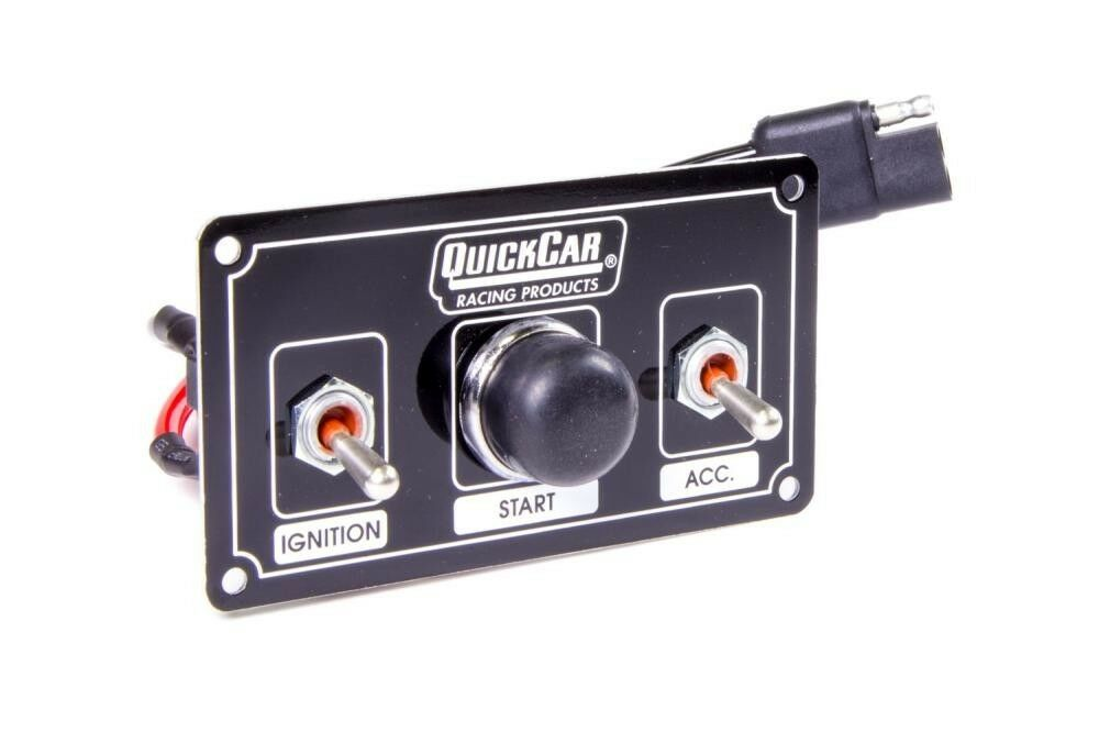 QuickCar Ignition Control Panel Black 2 Toggles/1 Push Button