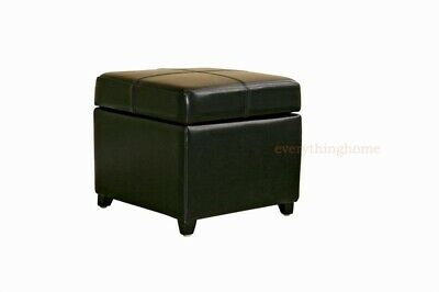 Black Full Leather Square Flip Top Storage Cube Ottoman Foot Stool -