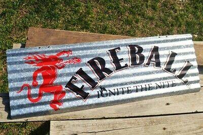 Fireball Whisky Corrugated Aluminium Metal Sign - Ignite The Nite - Whiskey