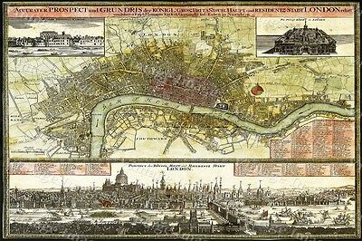 GIANT historic 1740 LONDON ENGLAND MAP OLD ANTIQUE STYLE FINE art print