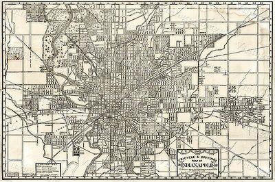 1899 Historic Indianapolis Indiana biking driving street Map print wall art