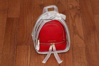 033089de1b12 NWT Michael Kors Rhea Zip Mini Extra Small XS Messenger Backpack Handbag Red