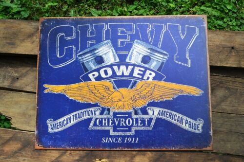 Chevy Power Tin Metal Sign - General Motors -  Chevrolet - American Tradition