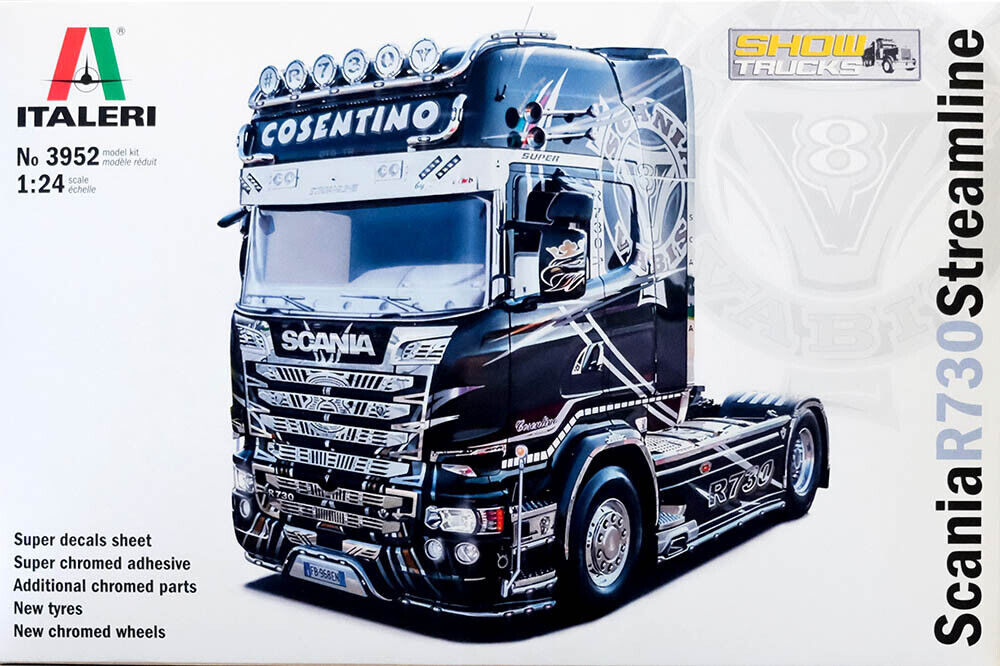 Scania R730 Streamline Truck LKW 124 Model Kit Bausatz Italeri 3952