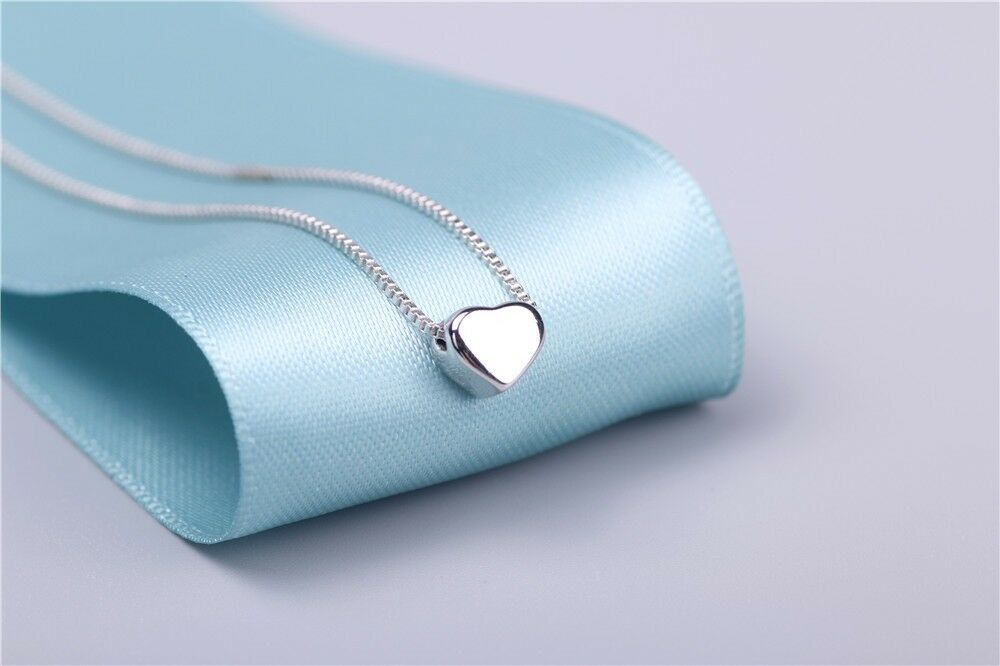 """Jewellery - 925 Sterling Silver Lovely Tiny Heart Charm Pendant Necklace 18"""""""