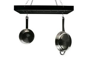 NEW Fox Run 7801 Rectangle Pot Rack with Chains and Hooks, Black Condition: New