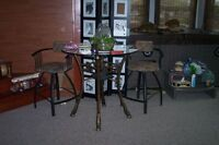 Rod Iron Glass top table comes with 2 swivel high stools