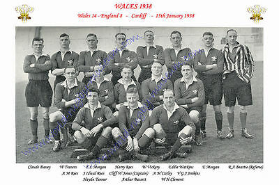 "WALES 1938 (v England) 12"" x 8"" RUGBY TEAM PHOTO PLAYERS NAMED"