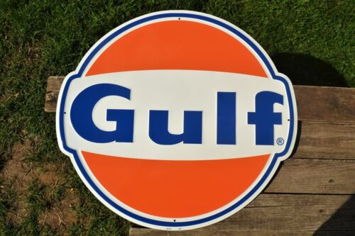 """Gulf Gas & Oil Corporation Embossed Tin Metal Sign - Gasoline - Die Cut - 24"""""""