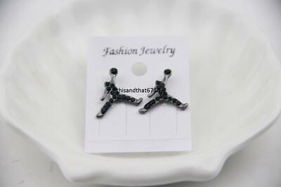 Michael Jordan Inspired Jumpman Logo Green CZ Stud Earrings In Gift Box Green Stud Earring Box