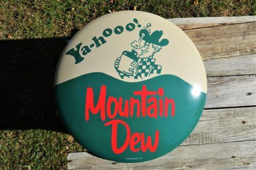 Mountain Dew Domed Tin Metal Sign - Hillbilly - Yahooo! - MTN - Pepsi - Retro