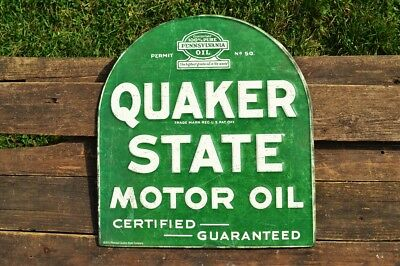 Quaker State Motor Oil Embossed Tin Metal Sign - Gasoline - Vintage - Tombstone