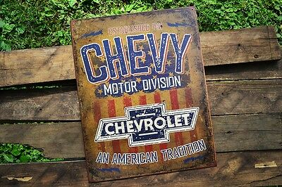 Chevy Motor Division Tin Metal Sign   General Motors   Since 1911    Chevrolet