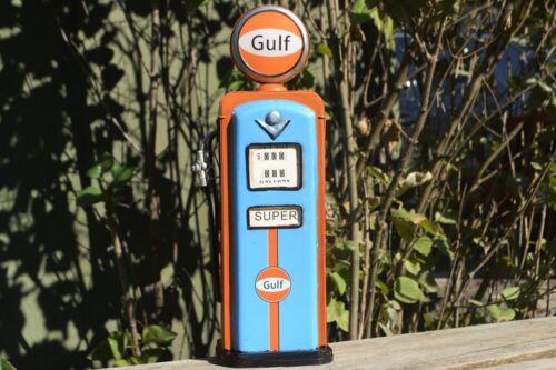 Handmade Tin Vintage Gulf Super Gas Pump Model - Tinplate - Metal - Gasoline