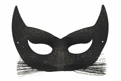 Ladies Black Glitter Cat Mask With Whiskers Catwomen Eye Mask ()
