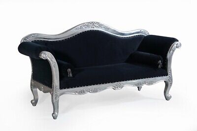 Large Silver Leaf Black Velvet French Ornate Sofa Chaise Longue Day Bed Lounge