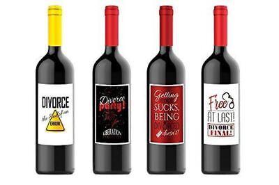 Wine Bottle Labels for Divorce Party Gift for Four (4) Bottles 4.25 x 5.5 each