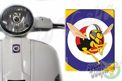 Front Badge Overlay Blue target/MioVespa 3D Decal sticker Vespa Gts Gt scooter