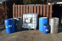 Food grade barrels and totes. $10 - $125