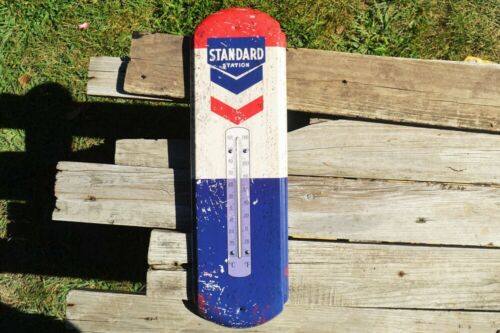 Standard Oil Co. Thermometer Tin Metal Sign -  SOCONY - Chevron - Gas Station
