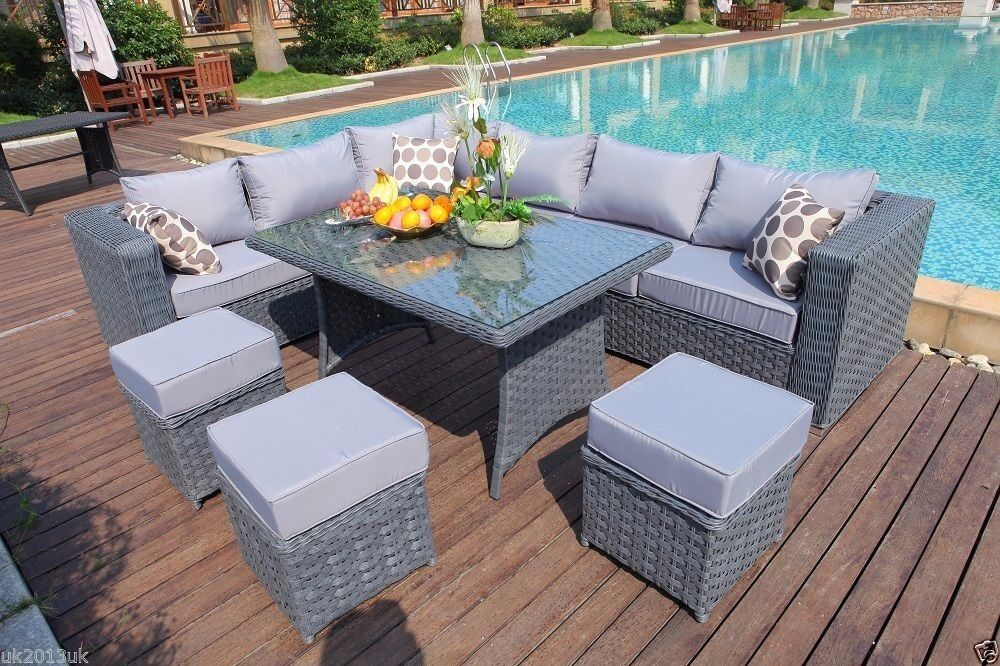 brand new papaver range 9 seater rattan corner sofa dining set garden outdoor - Garden Furniture Edinburgh