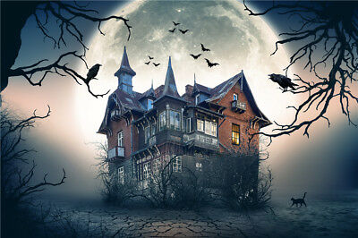 Halloween Haunted Spooky House 20x10FT Vinyl Studio Backdrop Photo Background LB - Halloween Spooky Backgrounds