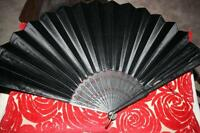 Antique Victorian Carved Ebony & Black Satin Mourning Fan