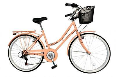 "Aurai Trekker Ladies 26"" Heritage Dutch Style City Bike 6 Speed Bicycle Peach"