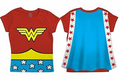 WONDER WOMAN T-Shirt Toddler Kids Child Costume Cape Tee New DC Comics 2T-5T ()
