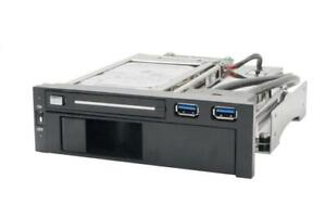 NEW Syba 5.25-Inch Dual Bay Mobile Rack for Both 2.5-Inch and 3.25-Inch SATA HDD Plus 2 USB 3.0 Ports SY-MRA55006 Con...