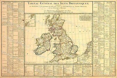 HISTORIC 1783 MAP BRITISH ISLES Tableau général des Isles Britanniques ENGLAND