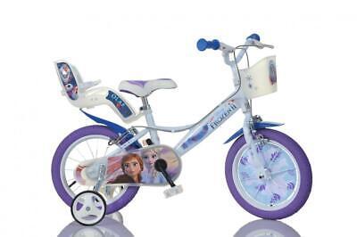 "Disney Frozen 2 Film Kids Girls Bike 14"" Wheel Bicycle Stabilisers 1 Speed White"