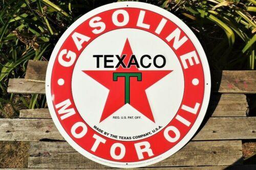 "Texaco Star Logo Embossed Tin Metal Sign - Gas & Motor Oil - Texas Company - 24"""