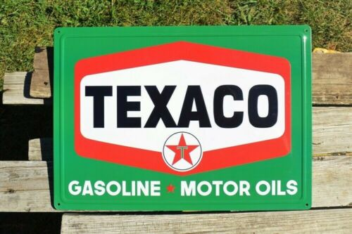 Texaco Hexagon Embossed Tin Metal Sign - Gasoline & Motor Oil - Star Gas Station
