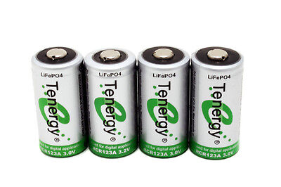 4Pcs Tenergy Rcr123a 3 0V 3 2V Rechargeable Lifep04 Batteries