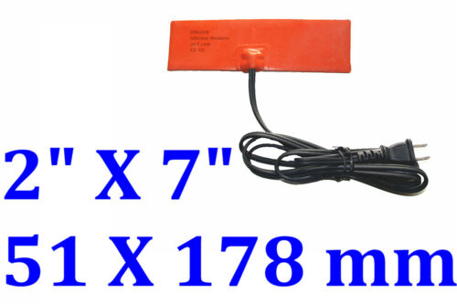 """2"""" X 7""""  51 X 178mm 25W w/ 3M w/ Plug JSRGO CE Silicone Flexible Heater Pad"""