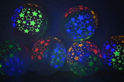 Clear Latex 11 inch Neon UV Blacklight Reactive Star Balloons](Star Latex Balloons)