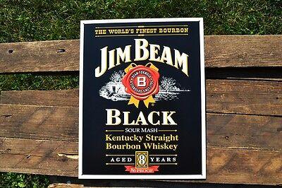Jim Beam Black Label Tin Metal Sign - Kentucky Bourbon Whiskey - Nostalgic Retro